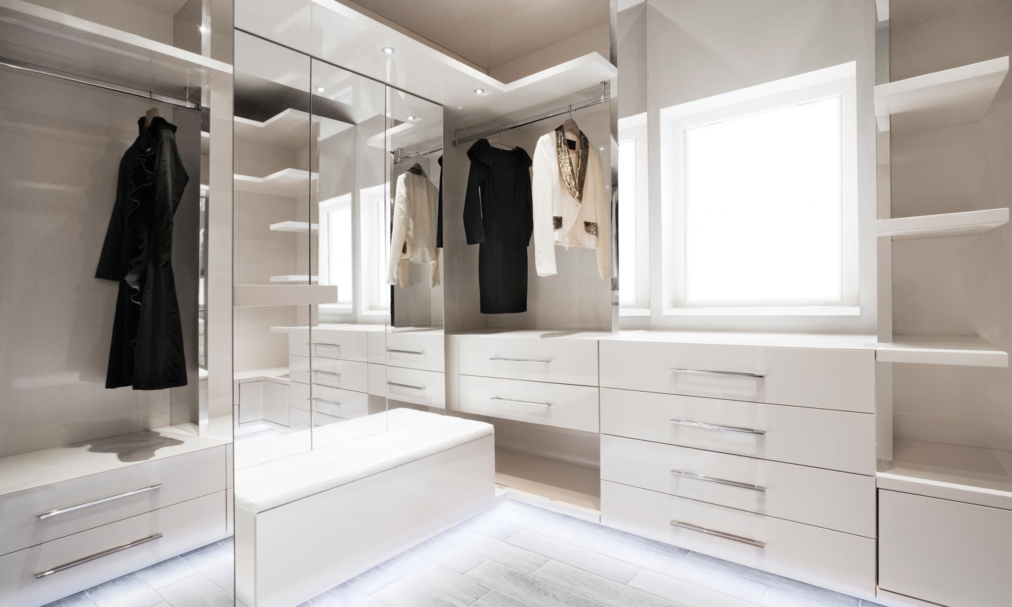 Bespoke gloss white walk in wardrobe